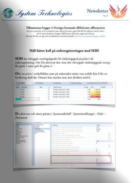 SEBS NL 27 - Täckningsgrad på orderpris