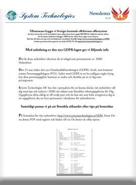 SEBS NL 39 - GDPR 25 maj 2018